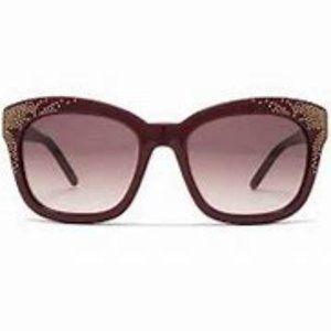 Chloe Studded Square Sunglasses in Bordeaux